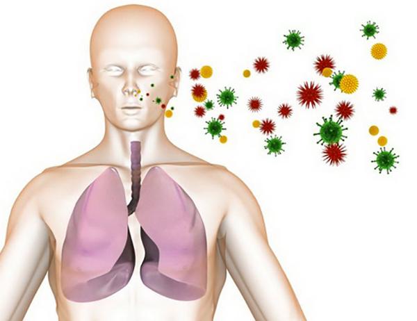 Человек вдыхает вирусы